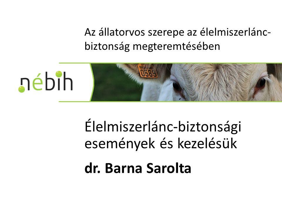Az állatorvos szerepe az élelmiszerlánc- biztonság megteremtésében Élelmiszerlánc-biztonsági események és kezelésük dr.