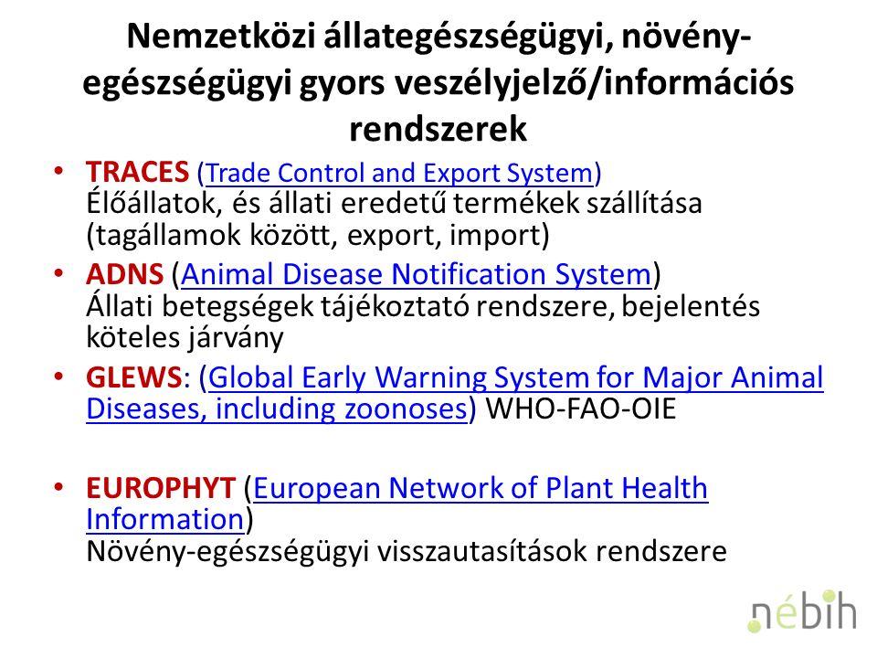 Nemzetközi állategészségügyi, növény- egészségügyi gyors veszélyjelző/információs rendszerek TRACES (Trade Control and Export System) Élőállatok, és állati eredetű termékek szállítása (tagállamok között, export, import)Trade Control and Export System ADNS (Animal Disease Notification System) Állati betegségek tájékoztató rendszere, bejelentés köteles járványAnimal Disease Notification System GLEWS: (Global Early Warning System for Major Animal Diseases, including zoonoses) WHO-FAO-OIEGlobal Early Warning System for Major Animal Diseases, including zoonoses EUROPHYT (European Network of Plant Health Information) Növény-egészségügyi visszautasítások rendszereEuropean Network of Plant Health Information