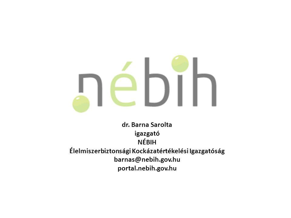 dr. Barna Sarolta igazgató NÉBIH Élelmiszerbiztonsági Kockázatértékelési Igazgatóság barnas@nebih.gov.hu portal.nebih.gov.hu