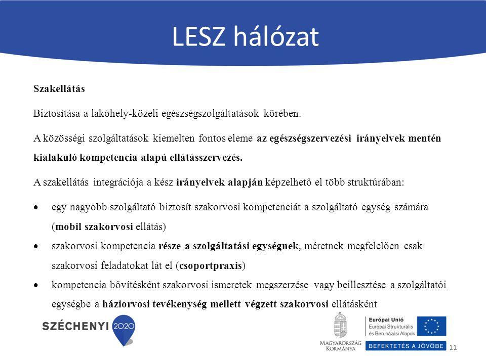 LESZ hálózat 11 Szakellátás Biztosítása a lakóhely-közeli egészségszolgáltatások körében.