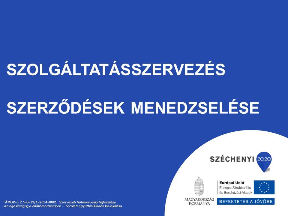 SZOLGÁLTATÁSSZERVEZÉS SZERZŐDÉSEK MENEDZSELÉSE TÁMOP-6.2.5-B-13/1-2014-0001 Szervezeti hatékonyság fejlesztése az egészségügyi ellátórendszerben – Területi együttműködés kialakítása