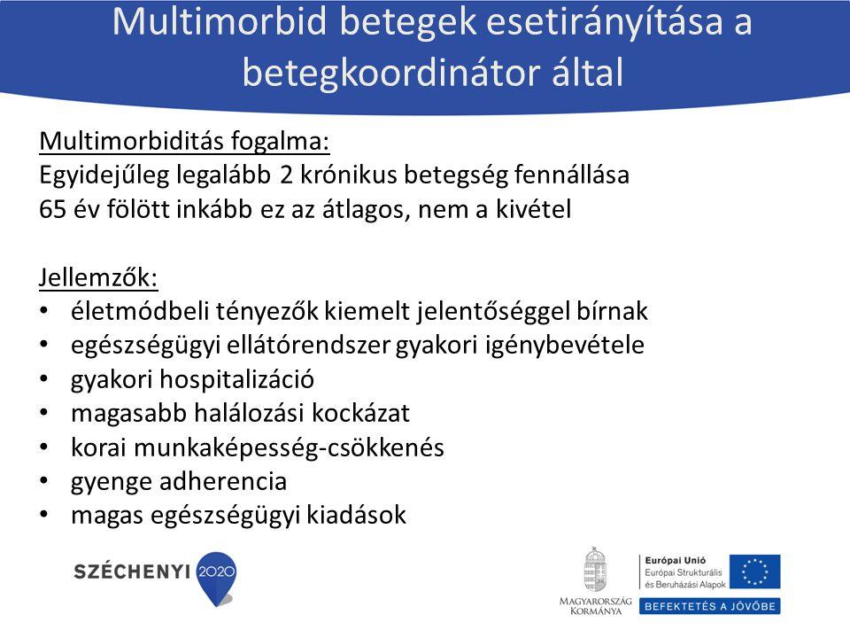 Multimorbid betegek esetirányítása a betegkoordinátor által Multimorbiditás fogalma: Egyidejűleg legalább 2 krónikus betegség fennállása 65 év fölött inkább ez az átlagos, nem a kivétel Jellemzők: életmódbeli tényezők kiemelt jelentőséggel bírnak egészségügyi ellátórendszer gyakori igénybevétele gyakori hospitalizáció magasabb halálozási kockázat korai munkaképesség-csökkenés gyenge adherencia magas egészségügyi kiadások