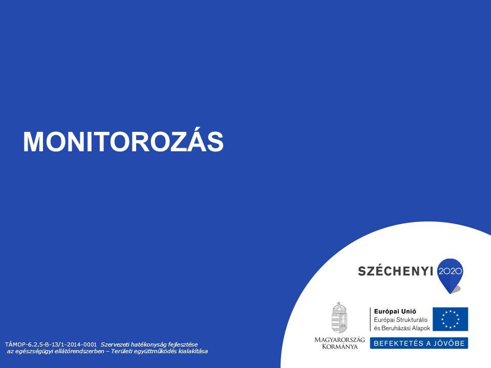 MONITOROZÁS TÁMOP-6.2.5-B-13/1-2014-0001 Szervezeti hatékonyság fejlesztése az egészségügyi ellátórendszerben – Területi együttműködés kialakítása