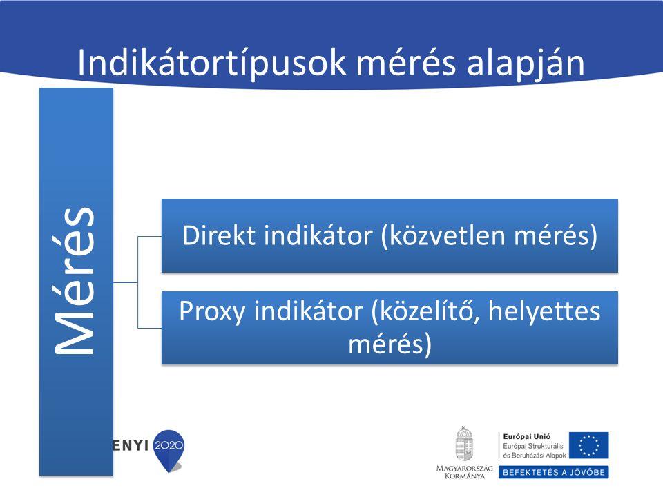Indikátortípusok mérés alapján Mérés Direkt indikátor (közvetlen mérés) Proxy indikátor (közelítő, helyettes mérés)