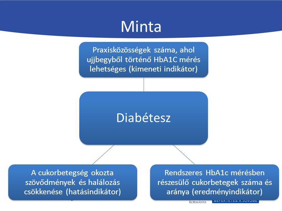 Minta Diabétesz Praxisközösségek száma, ahol ujjbegyből történő HbA1C mérés lehetséges (kimeneti indikátor) Rendszeres HbA1c mérésben részesülő cukorbetegek száma és aránya (eredményindikátor) A cukorbetegség okozta szövődmények és halálozás csökkenése (hatásindikátor)