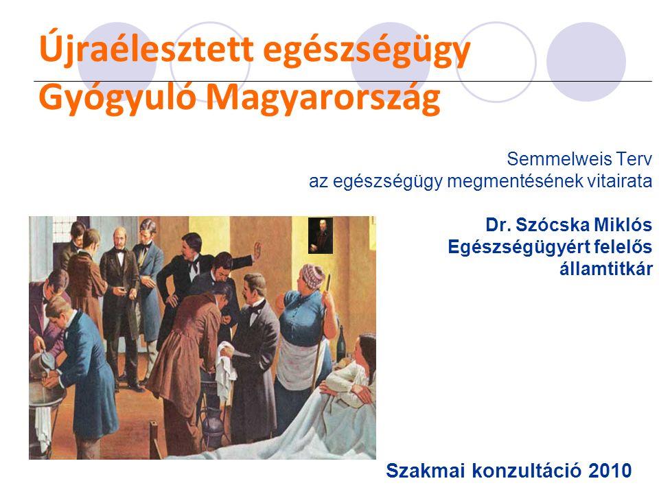 Újraélesztett egészségügy Gyógyuló Magyarország Semmelweis Terv az egészségügy megmentésének vitairata Dr. Szócska Miklós Egészségügyért felelős állam