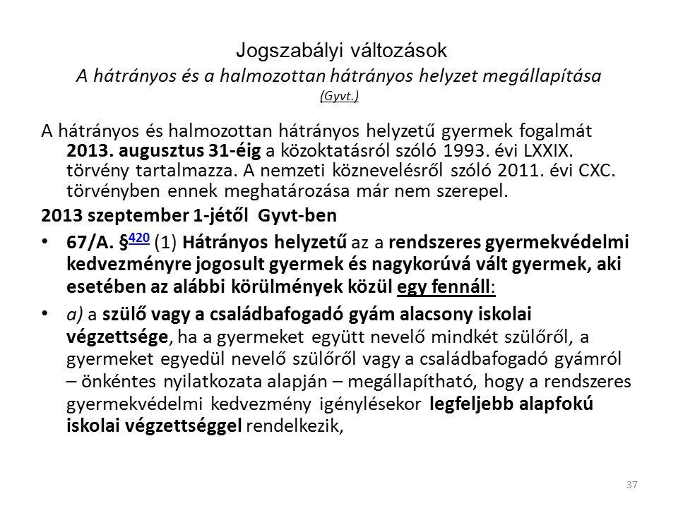 Jogszabályi változások A hátrányos és a halmozottan hátrányos helyzet megállapítása (Gyvt.) A hátrányos és halmozottan hátrányos helyzetű gyermek fogalmát 2013.