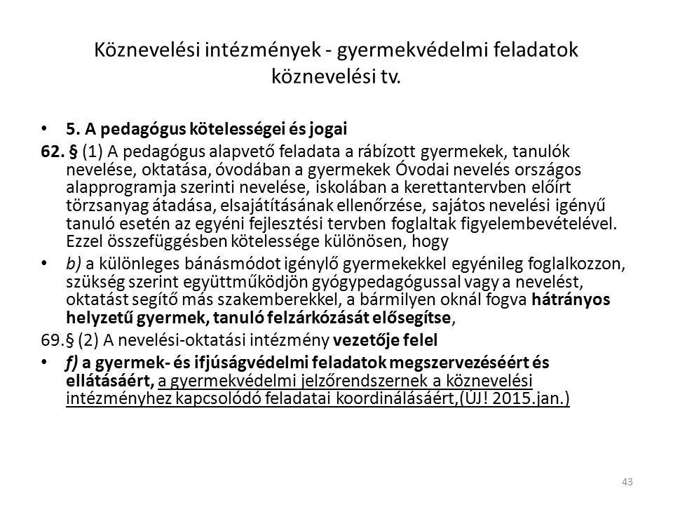 Köznevelési intézmények - gyermekvédelmi feladatok köznevelési tv.