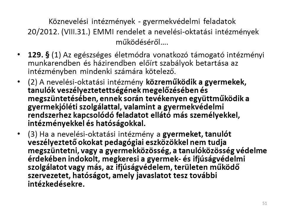 Köznevelési intézmények - gyermekvédelmi feladatok 20/2012.