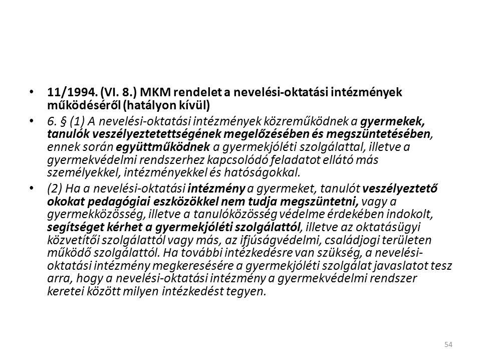 11/1994. (VI. 8.) MKM rendelet a nevelési-oktatási intézmények működéséről (hatályon kívül) 6.