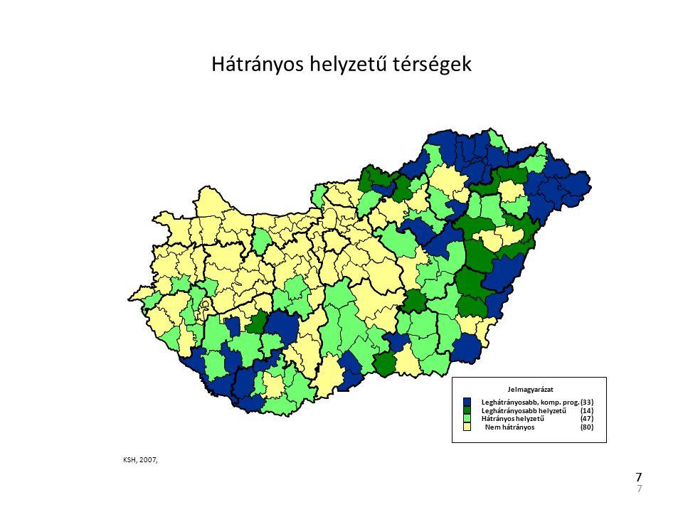 7 77 Hátrányos helyzetű térségek Jelmagyarázat Leghátrányosabb, komp.