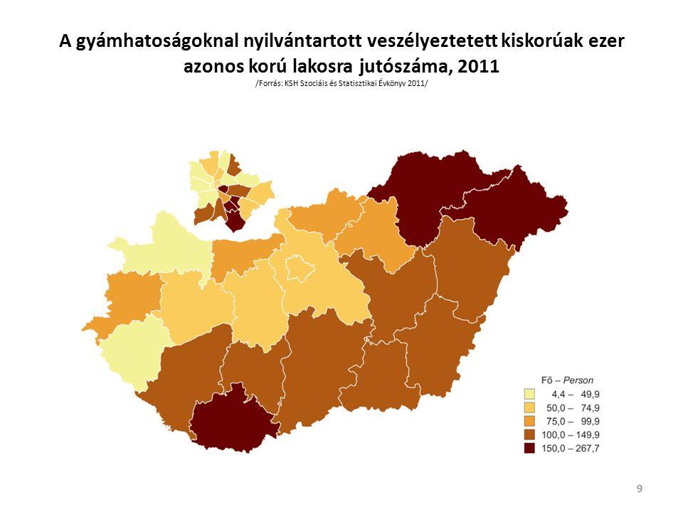 9 A gyámhatoságoknal nyilvántartott veszélyeztetett kiskorúak ezer azonos korú lakosra jutószáma, 2011 /Forrás: KSH Szociáis és Statisztikai Évkönyv 2011/ 9