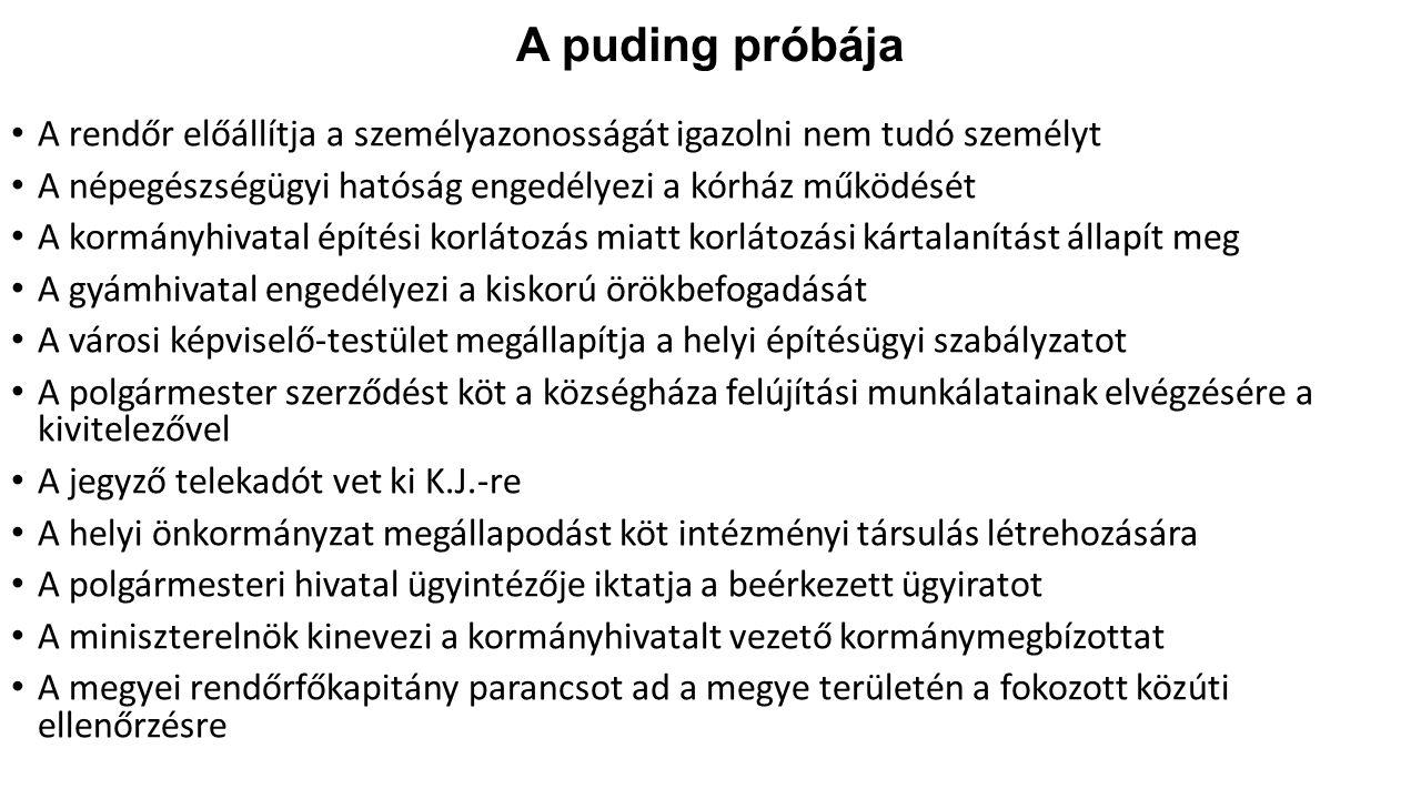 A puding próbája A rendőr előállítja a személyazonosságát igazolni nem tudó személyt A népegészségügyi hatóság engedélyezi a kórház működését A kormán