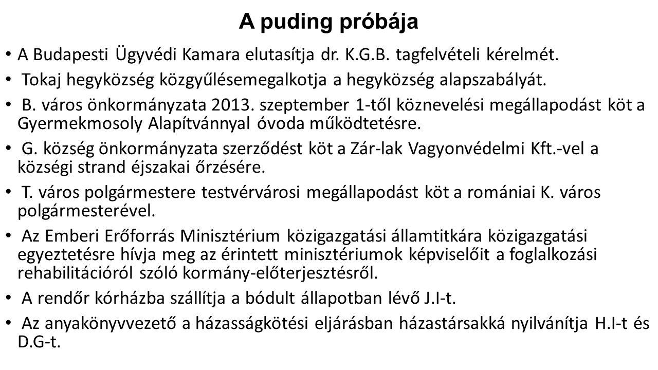 A puding próbája A Budapesti Ügyvédi Kamara elutasítja dr. K.G.B. tagfelvételi kérelmét. Tokaj hegyközség közgyűlésemegalkotja a hegyközség alapszabál