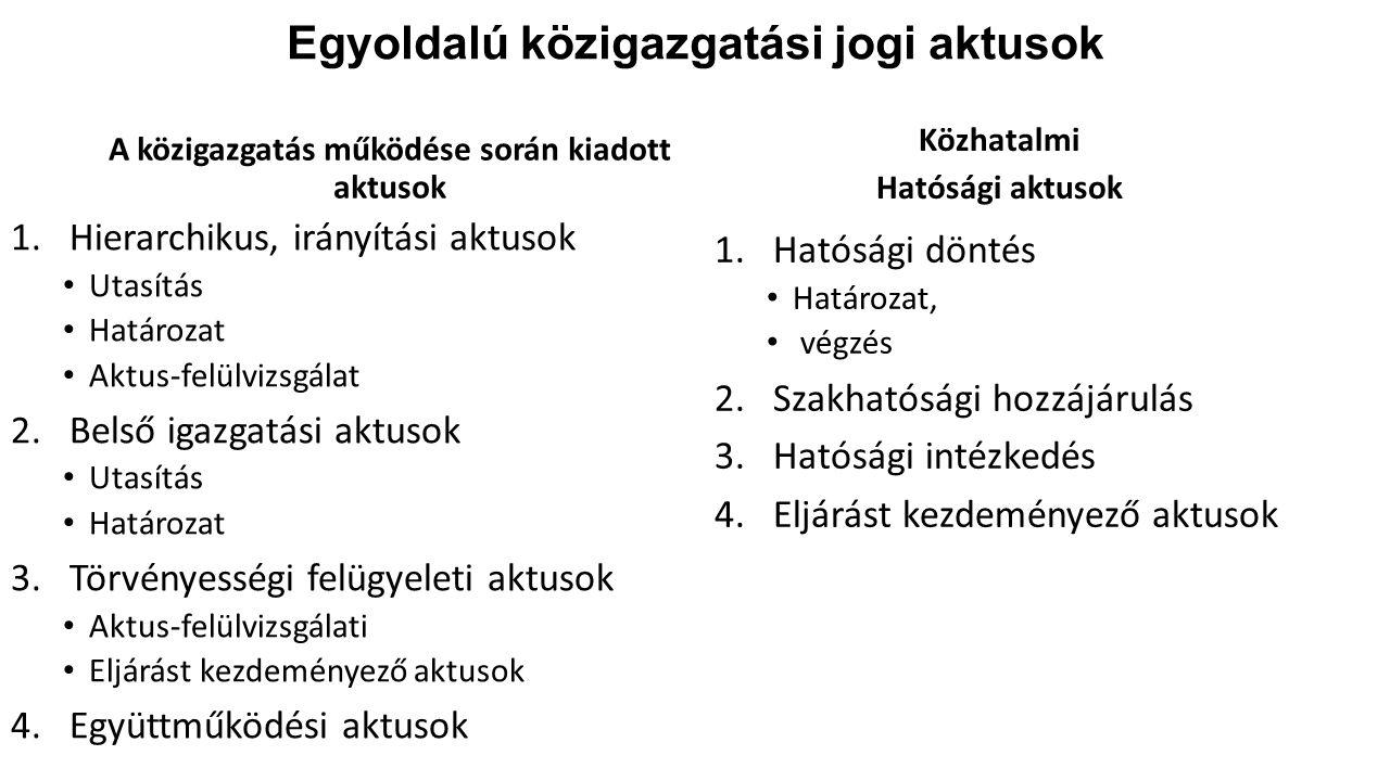 Egyoldalú közigazgatási jogi aktusok A közigazgatás működése során kiadott aktusok 1.Hierarchikus, irányítási aktusok Utasítás Határozat Aktus-felülvi