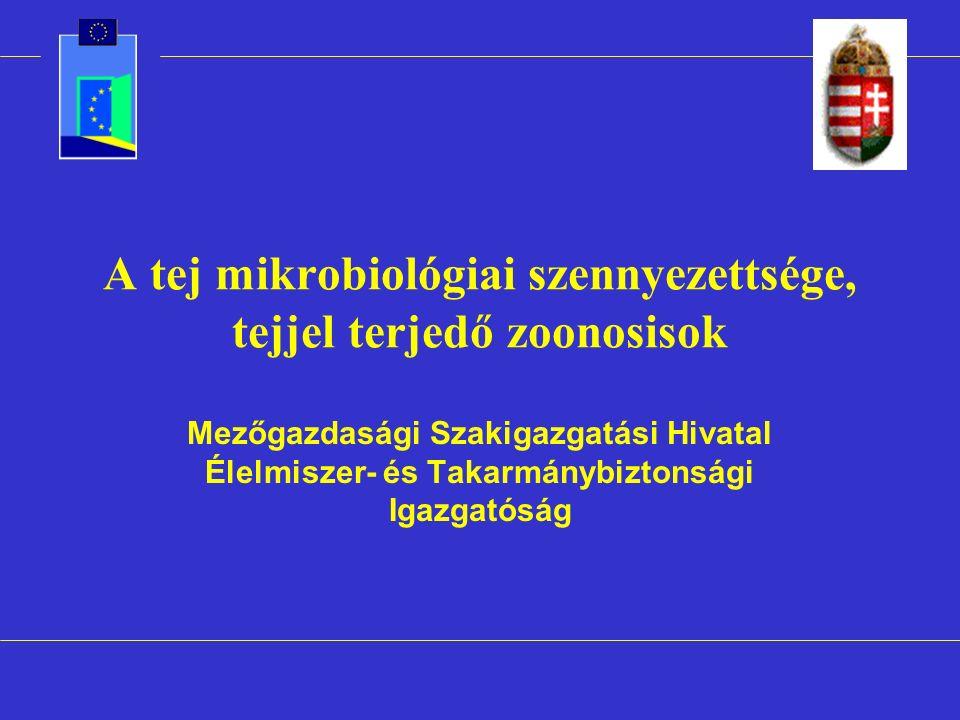 A tej mikrobiológiai szennyezettsége, tejjel terjedő zoonosisok Mezőgazdasági Szakigazgatási Hivatal Élelmiszer- és Takarmánybiztonsági Igazgatóság