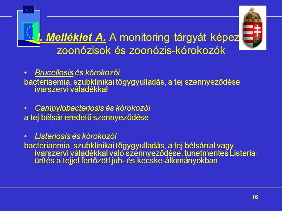 16 I. Melléklet A. A monitoring tárgyát képező zoonózisok és zoonózis-kórokozók Brucellosis és kórokozói bacteriaemia, szubklinikai tőgygyulladás, a t