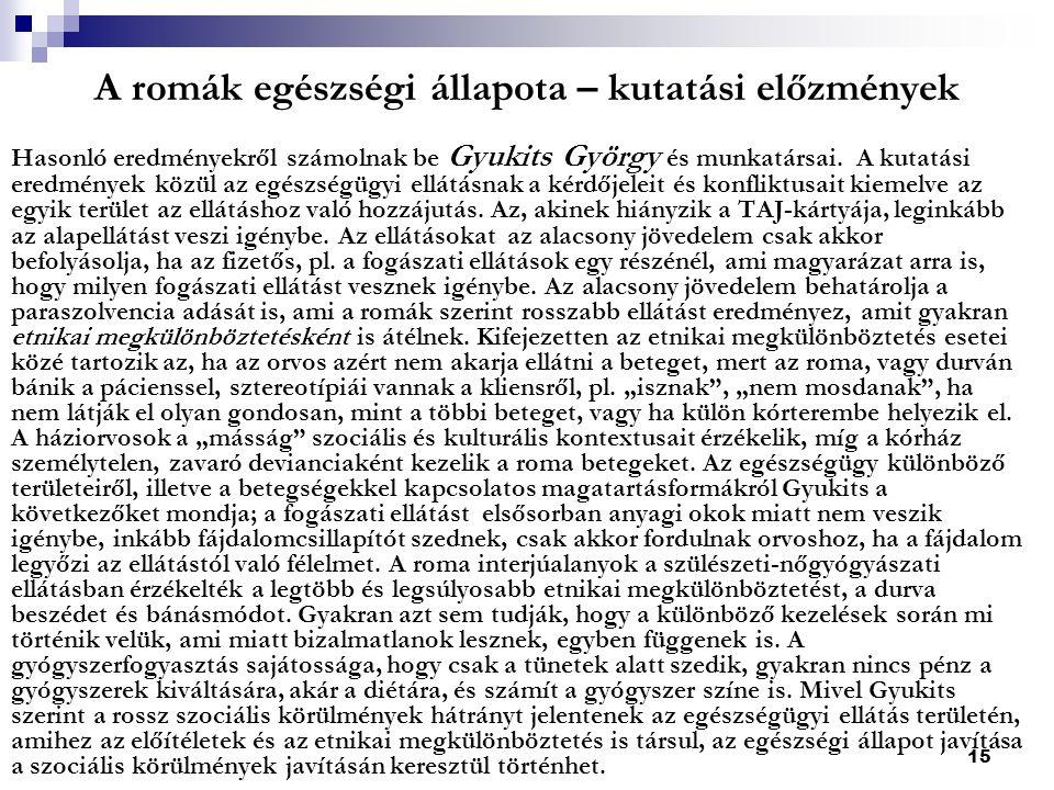 15 A romák egészségi állapota – kutatási előzmények Hasonló eredményekről számolnak be Gyukits György és munkatársai.