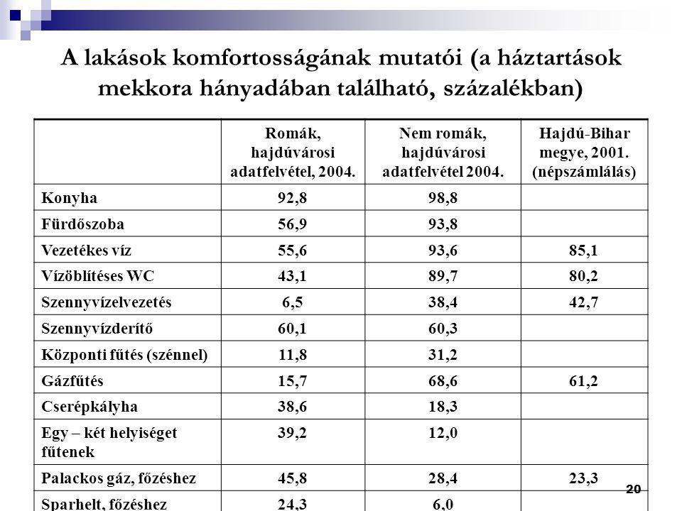 20 A lakások komfortosságának mutatói (a háztartások mekkora hányadában található, százalékban) Romák, hajdúvárosi adatfelvétel, 2004.