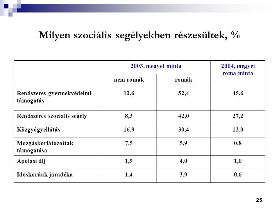 25 Milyen szociális segélyekben részesültek, % 2003.