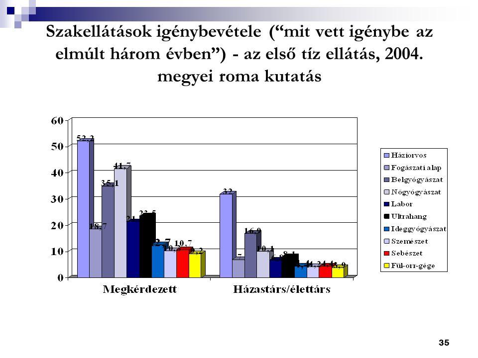 35 Szakellátások igénybevétele ( mit vett igénybe az elmúlt három évben ) - az első tíz ellátás, 2004.