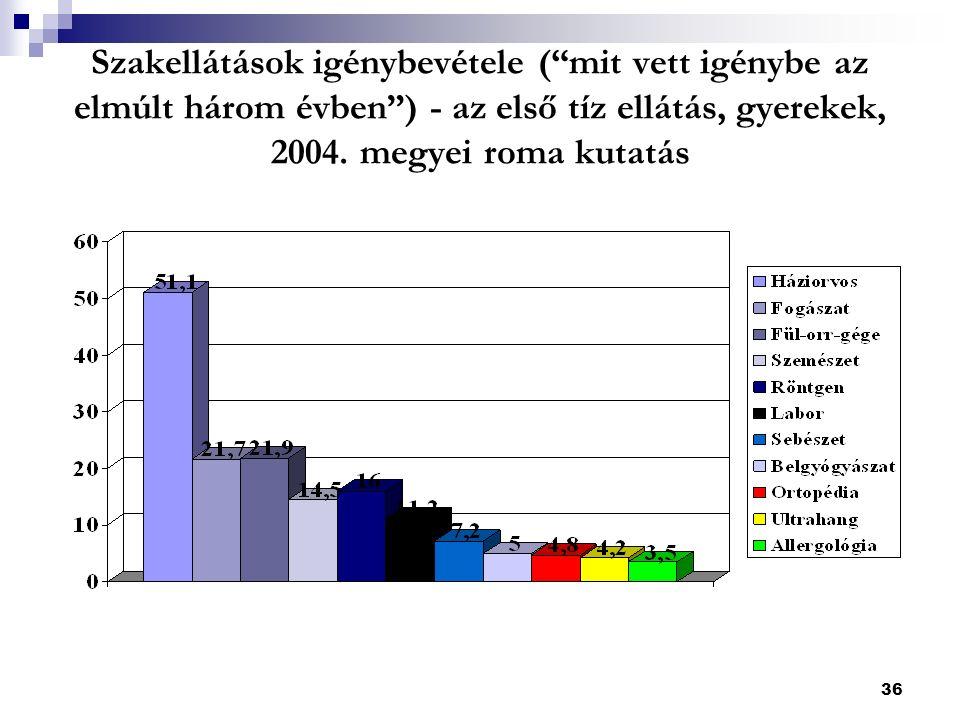 36 Szakellátások igénybevétele ( mit vett igénybe az elmúlt három évben ) - az első tíz ellátás, gyerekek, 2004.