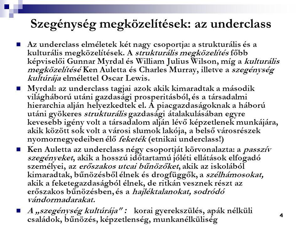 4 Szegénység megközelítések: az underclass Az underclass elméletek két nagy csoportja: a strukturális és a kulturális megközelítések.