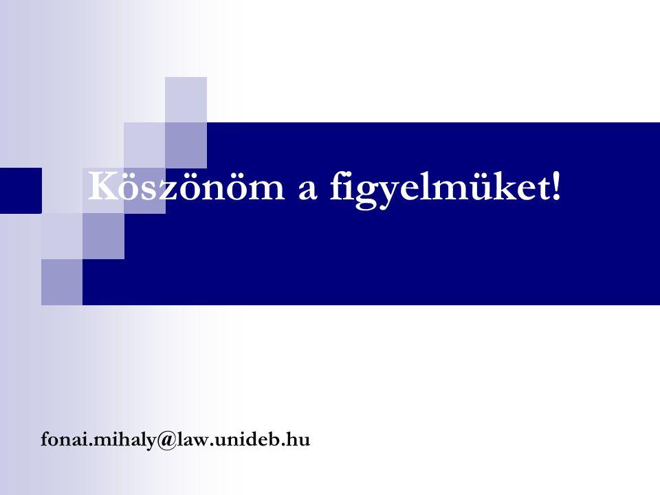 Köszönöm a figyelmüket! fonai.mihaly@law.unideb.hu