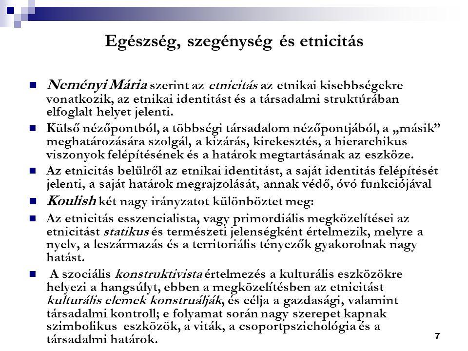 7 Egészség, szegénység és etnicitás Neményi Mária szerint az etnicitás az etnikai kisebbségekre vonatkozik, az etnikai identitást és a társadalmi struktúrában elfoglalt helyet jelenti.