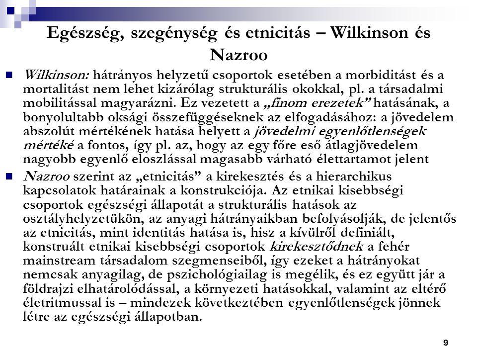 9 Egészség, szegénység és etnicitás – Wilkinson és Nazroo Wilkinson: hátrányos helyzetű csoportok esetében a morbiditást és a mortalitást nem lehet kizárólag strukturális okokkal, pl.