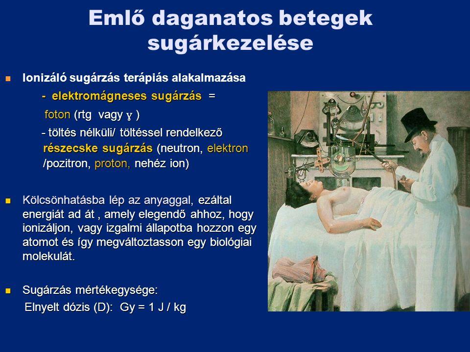 Emlő daganatos betegek sugárkezelése Ionizáló sugárzás terápiás alakalmazása - elektromágneses sugárzás = - elektromágneses sugárzás = foton (rtg vagy ɣ ) foton (rtg vagy ɣ ) - töltés nélküli/ töltéssel rendelkező részecske sugárzás (neutron, elektron /pozitron, proton, nehéz ion) - töltés nélküli/ töltéssel rendelkező részecske sugárzás (neutron, elektron /pozitron, proton, nehéz ion) Kölcsönhatásba lép az anyaggal, ezáltal energiát ad át, amely elegendő ahhoz, hogy ionizáljon, vagy izgalmi állapotba hozzon egy atomot és így megváltoztasson egy biológiai molekulát.