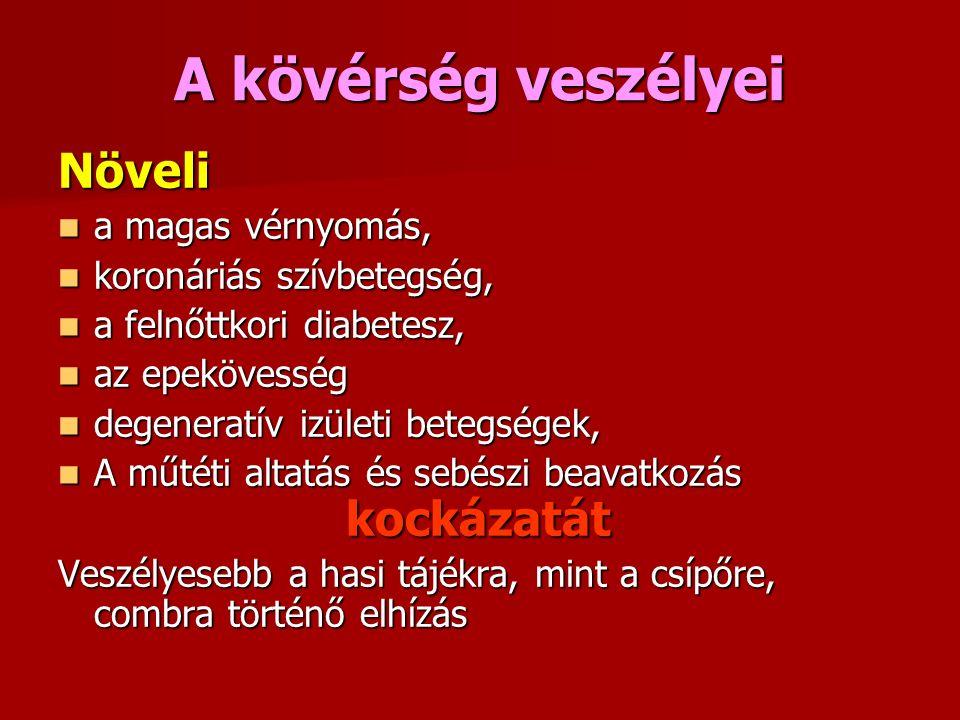 A kövérség veszélyei Növeli a magas vérnyomás, a magas vérnyomás, koronáriás szívbetegség, koronáriás szívbetegség, a felnőttkori diabetesz, a felnőttkori diabetesz, az epekövesség az epekövesség degeneratív izületi betegségek, degeneratív izületi betegségek, A műtéti altatás és sebészi beavatkozás kockázatát A műtéti altatás és sebészi beavatkozás kockázatát Veszélyesebb a hasi tájékra, mint a csípőre, combra történő elhízás
