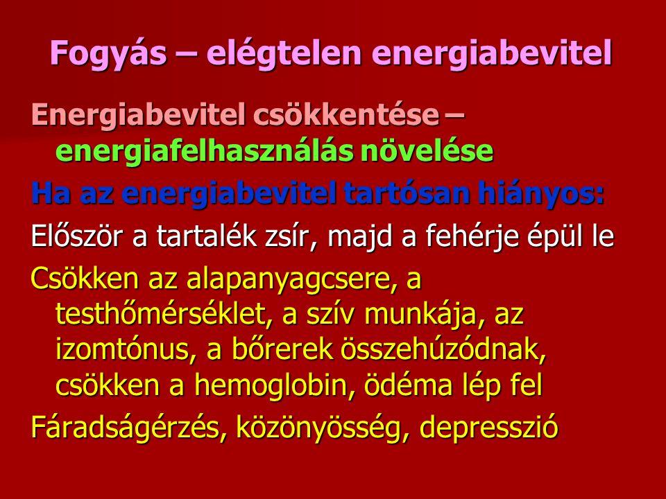 Fogyás – elégtelen energiabevitel Energiabevitel csökkentése – energiafelhasználás növelése Ha az energiabevitel tartósan hiányos: Először a tartalék zsír, majd a fehérje épül le Csökken az alapanyagcsere, a testhőmérséklet, a szív munkája, az izomtónus, a bőrerek összehúzódnak, csökken a hemoglobin, ödéma lép fel Fáradságérzés, közönyösség, depresszió