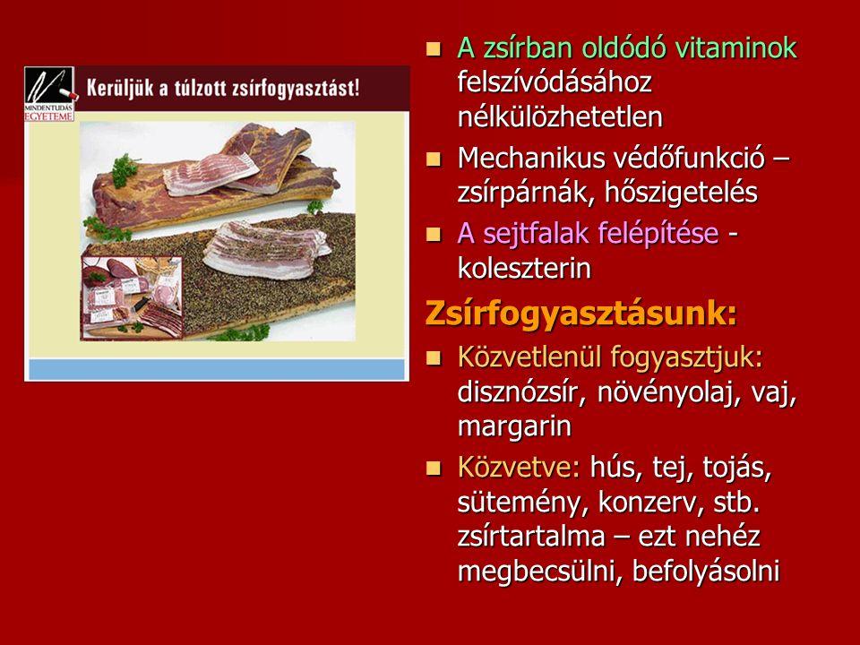 A zsírban oldódó vitaminok felszívódásához nélkülözhetetlen A zsírban oldódó vitaminok felszívódásához nélkülözhetetlen Mechanikus védőfunkció – zsírpárnák, hőszigetelés Mechanikus védőfunkció – zsírpárnák, hőszigetelés A sejtfalak felépítése - koleszterin A sejtfalak felépítése - koleszterinZsírfogyasztásunk: Közvetlenül fogyasztjuk: disznózsír, növényolaj, vaj, margarin Közvetlenül fogyasztjuk: disznózsír, növényolaj, vaj, margarin Közvetve: hús, tej, tojás, sütemény, konzerv, stb.