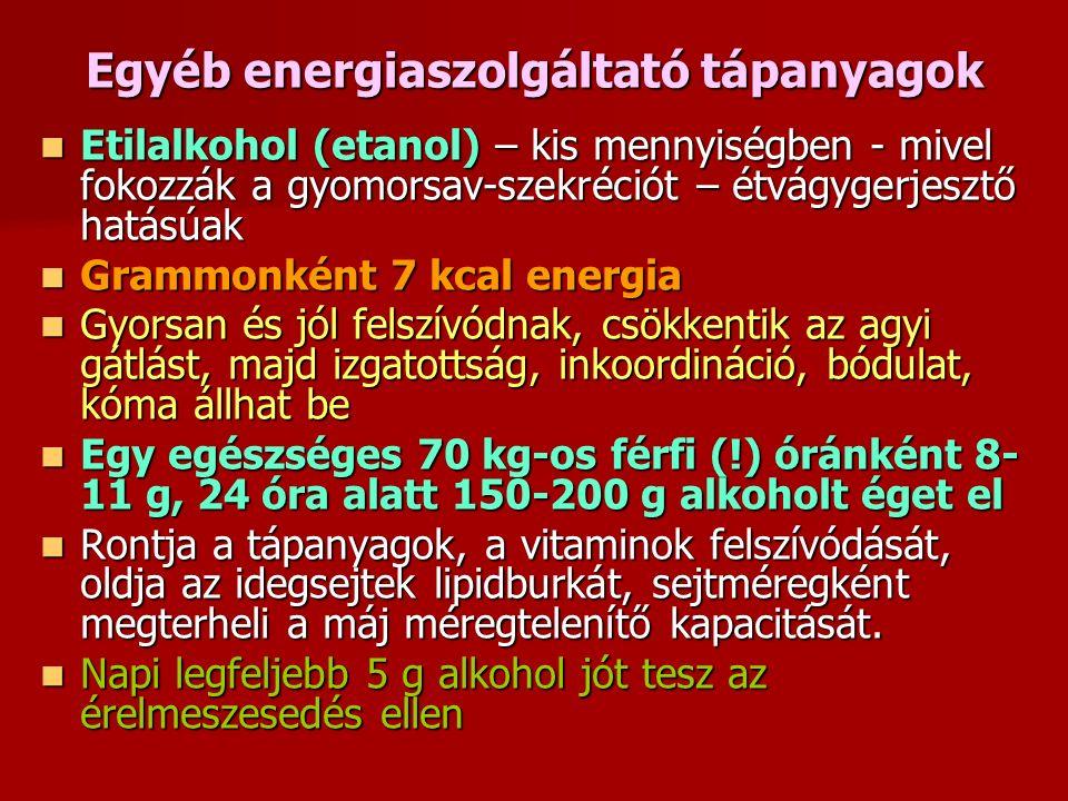 Egyéb energiaszolgáltató tápanyagok Etilalkohol (etanol) – kis mennyiségben - mivel fokozzák a gyomorsav-szekréciót – étvágygerjesztő hatásúak Etilalkohol (etanol) – kis mennyiségben - mivel fokozzák a gyomorsav-szekréciót – étvágygerjesztő hatásúak Grammonként 7 kcal energia Grammonként 7 kcal energia Gyorsan és jól felszívódnak, csökkentik az agyi gátlást, majd izgatottság, inkoordináció, bódulat, kóma állhat be Gyorsan és jól felszívódnak, csökkentik az agyi gátlást, majd izgatottság, inkoordináció, bódulat, kóma állhat be Egy egészséges 70 kg-os férfi (!) óránként 8- 11 g, 24 óra alatt 150-200 g alkoholt éget el Egy egészséges 70 kg-os férfi (!) óránként 8- 11 g, 24 óra alatt 150-200 g alkoholt éget el Rontja a tápanyagok, a vitaminok felszívódását, oldja az idegsejtek lipidburkát, sejtméregként megterheli a máj méregtelenítő kapacitását.