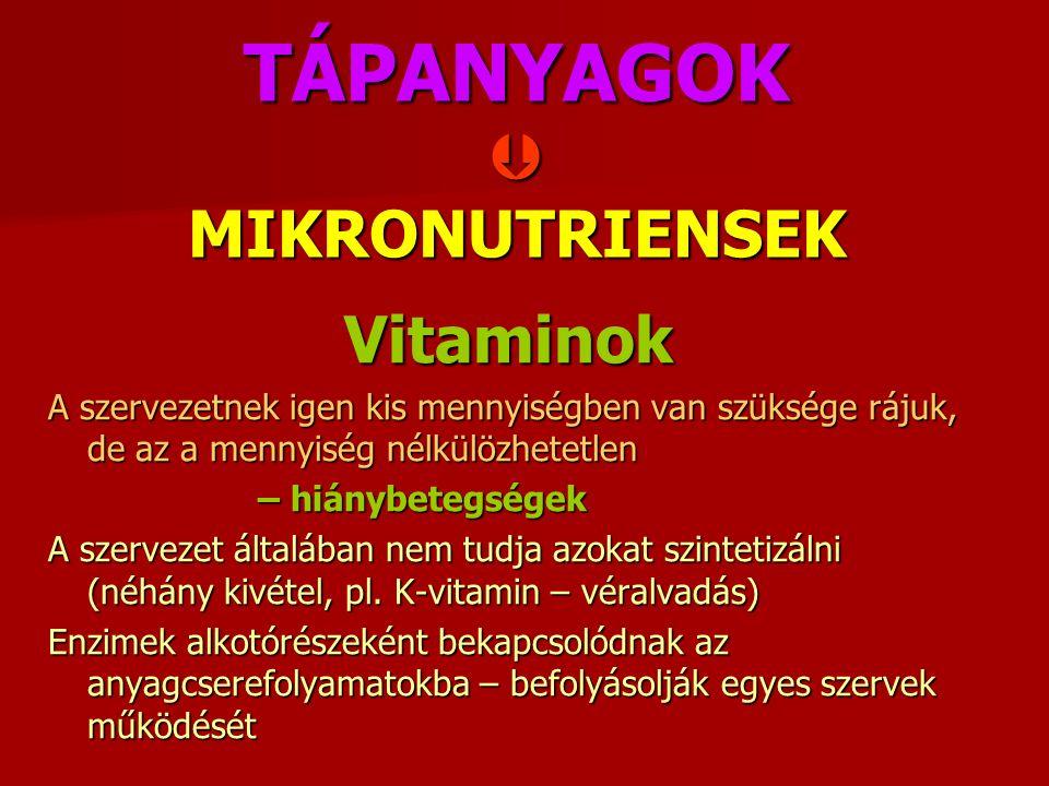 TÁPANYAGOK  MIKRONUTRIENSEK Vitaminok A szervezetnek igen kis mennyiségben van szüksége rájuk, de az a mennyiség nélkülözhetetlen – hiánybetegségek A