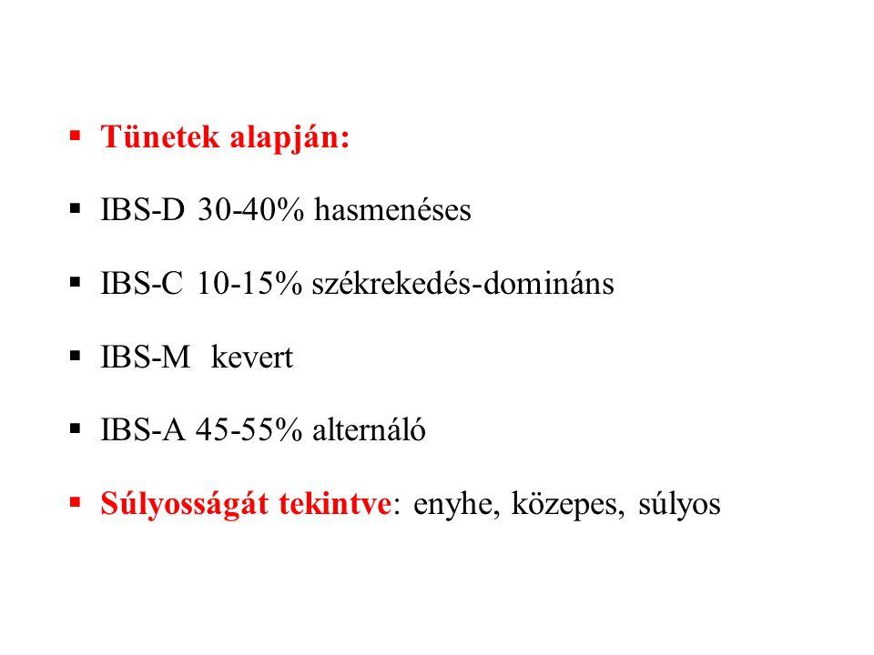  Tünetek alapján:  IBS-D 30-40% hasmenéses  IBS-C 10-15% székrekedés-domináns  IBS-M kevert  IBS-A 45-55% alternáló  Súlyosságát tekintve: enyhe, közepes, súlyos