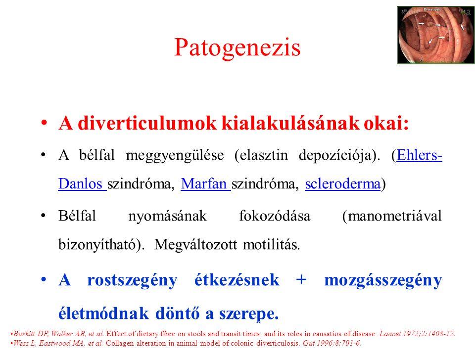 Patogenezis A diverticulumok kialakulásának okai: A bélfal meggyengülése (elasztin depozíciója).