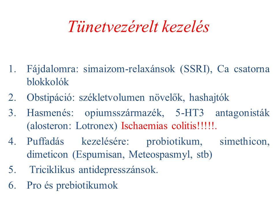 Tünetvezérelt kezelés 1.Fájdalomra: simaizom-relaxánsok (SSRI), Ca csatorna blokkolók 2.Obstipáció: székletvolumen növelők, hashajtók 3.Hasmenés: opiumsszármazék, 5-HT3 antagonisták (alosteron: Lotronex) Ischaemias colitis!!!!!.