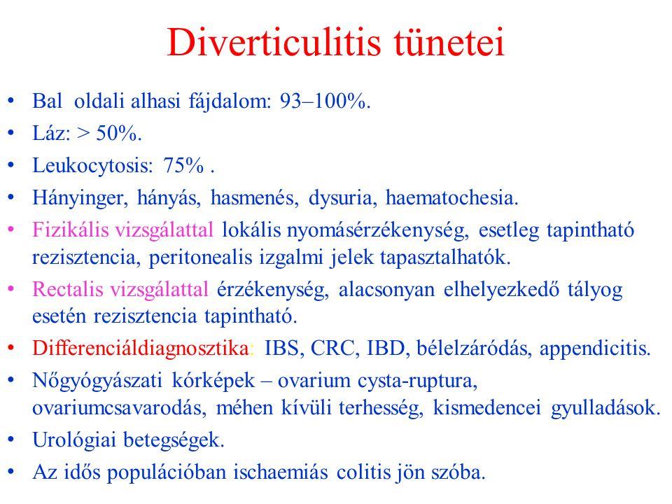 Diverticulitis tünetei Bal oldali alhasi fájdalom: 93–100%.