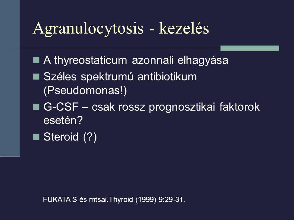 Agranulocytosis - kezelés A thyreostaticum azonnali elhagyása Széles spektrumú antibiotikum (Pseudomonas!) G-CSF – csak rossz prognosztikai faktorok esetén.