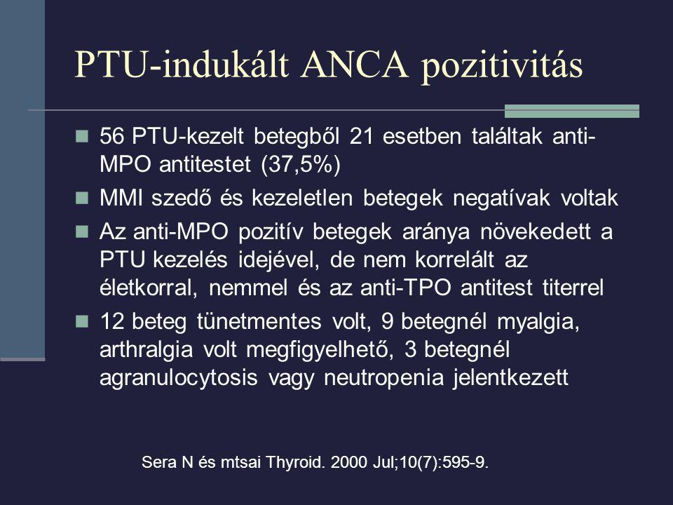 PTU-indukált ANCA pozitivitás 56 PTU-kezelt betegből 21 esetben találtak anti- MPO antitestet (37,5%) MMI szedő és kezeletlen betegek negatívak voltak Az anti-MPO pozitív betegek aránya növekedett a PTU kezelés idejével, de nem korrelált az életkorral, nemmel és az anti-TPO antitest titerrel 12 beteg tünetmentes volt, 9 betegnél myalgia, arthralgia volt megfigyelhető, 3 betegnél agranulocytosis vagy neutropenia jelentkezett Sera N és mtsai Thyroid.