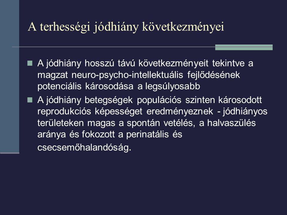 A terhességi jódhiány következményei A jódhiány hosszú távú következményeit tekintve a magzat neuro-psycho-intellektuális fejlődésének potenciális kár