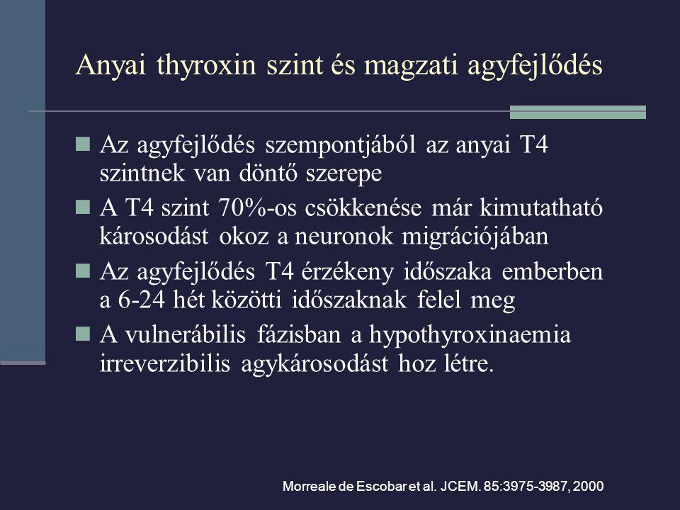Anyai thyroxin szint és magzati agyfejlődés Az agyfejlődés szempontjából az anyai T4 szintnek van döntő szerepe A T4 szint 70%-os csökkenése már kimutatható károsodást okoz a neuronok migrációjában Az agyfejlődés T4 érzékeny időszaka emberben a 6-24 hét közötti időszaknak felel meg A vulnerábilis fázisban a hypothyroxinaemia irreverzibilis agykárosodást hoz létre.