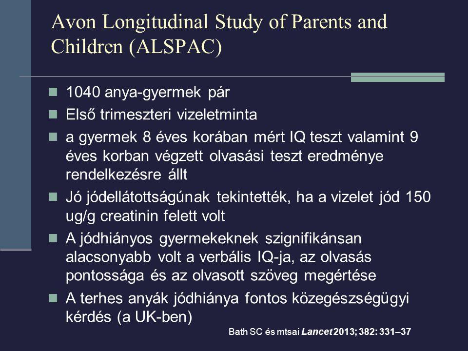 Avon Longitudinal Study of Parents and Children (ALSPAC) 1040 anya-gyermek pár Első trimeszteri vizeletminta a gyermek 8 éves korában mért IQ teszt valamint 9 éves korban végzett olvasási teszt eredménye rendelkezésre állt Jó jódellátottságúnak tekintették, ha a vizelet jód 150 ug/g creatinin felett volt A jódhiányos gyermekeknek szignifikánsan alacsonyabb volt a verbális IQ-ja, az olvasás pontossága és az olvasott szöveg megértése A terhes anyák jódhiánya fontos közegészségügyi kérdés (a UK-ben) Bath SC és mtsai Lancet 2013; 382: 331–37