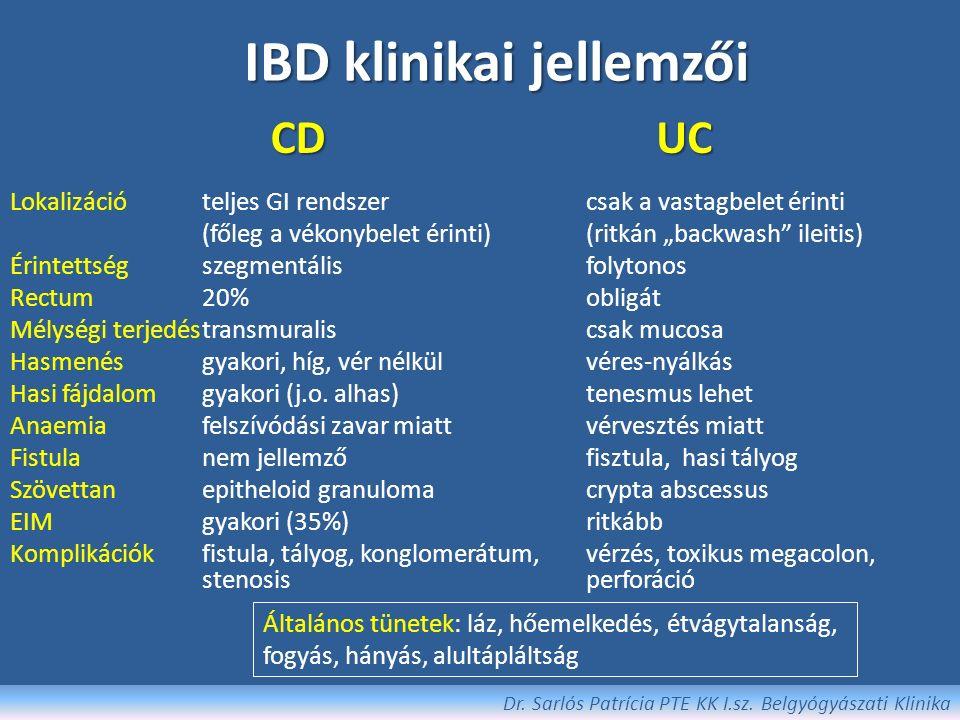 Differenciáldiagnosztika (egyéb bél- és GI- betegségek) Infektív enterocolitisek Clostridium difficile colitis (pseudomemranosus) Tbc CMV colitis Ischaemiás colitis Diverticularis betegség Mikroszkópos colitisek Drug-induced colitis (NSAID) Irradiációs colitis Vascularis eredetű kórképek, vasulitisek CRC Endometriosis Soliter rectalis ulcus Carcinoid, coeliakia, Whipple kór Dr.