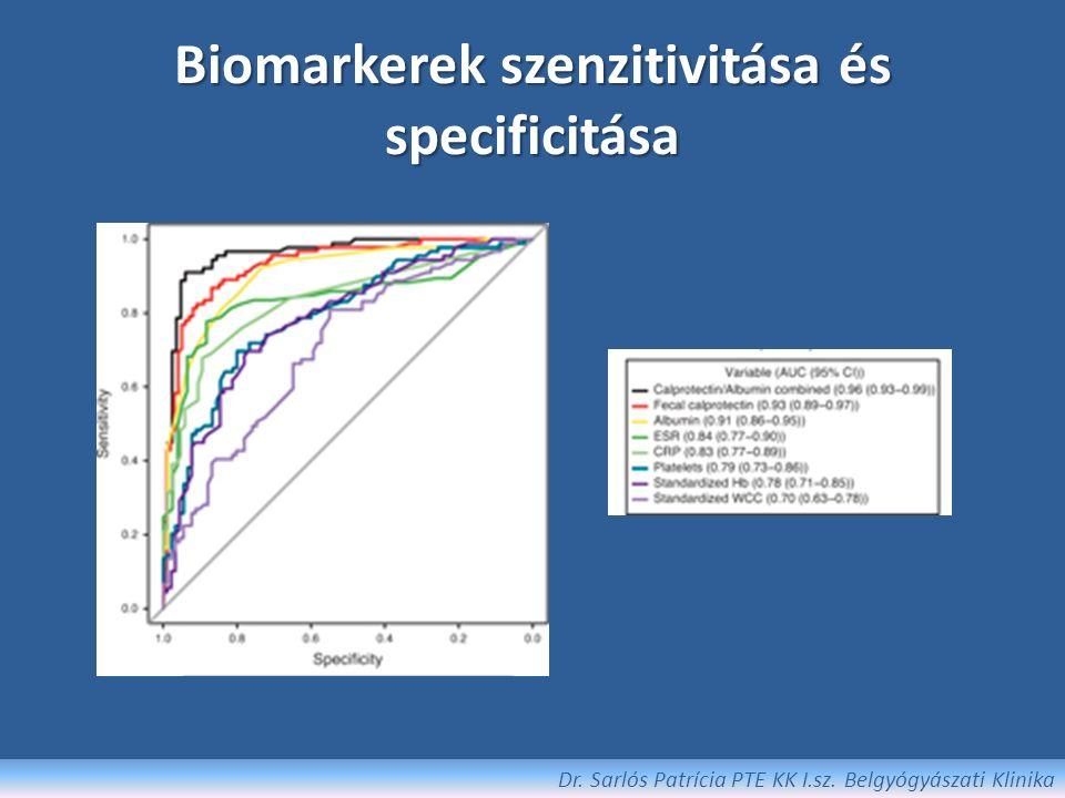 CRP CRP emelkedés összefügg CD-ben a klinikai és endoszkópos aktivitással, súlyos hisztológiai gyulladással, de nem függ össze radiológiai eltérésekkel [Solem IBD 2005] Hatékony az IBD és IBS differenciáldiagnosztikájában [Poullis Eur J Gastroent Hepatol 2002] Előrejelzi a rövidtávú relapsust CD-ben (6 héten belül) Diagnózis felállításakor vett CRP mint prediktív faktor (extensív colitis UC-ben, fenotípust nem befolyásolja) Dr.