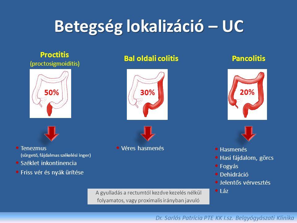 Krónikus UC: végstádiumú colitis Báriumos rtg felvétel: – Rövidült colon – Csőszerű, haustráció (harántredők) eltűnése – Szűk lumen (érintett területen) 'Lead-pipe colon' Endoszkópia : Atrofizált (sorvadt) nyálkahártya Pseudopolyposis Funkció vesztés: Motilitás-zavar, protein vesztő enteropathia Krónikus hasmenés, széklet inkontinencia Dr.