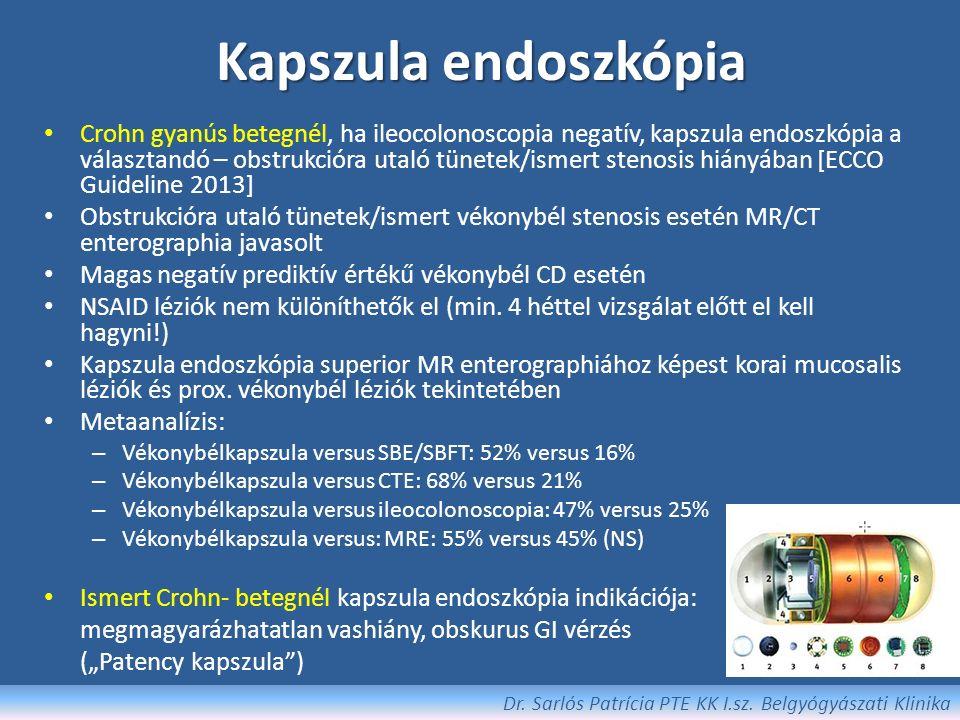 Kapszula endoszkópia Dr. Sarlós Patrícia PTE KK I.sz. Belgyógyászati Klinika