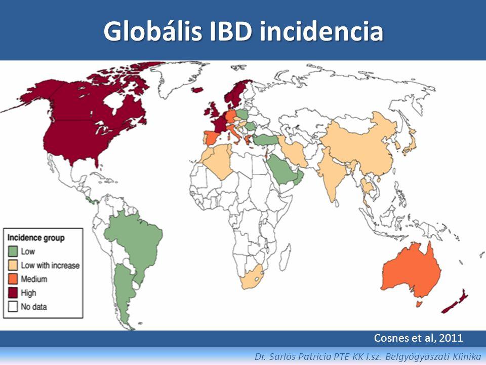"""Epidemiológia Prevalencia: Crohn-betegség: 10-70 / 100 000 fő (ffi < nő) Colitis ulcerosa: 20-130 / 100 000 fő (ffi > nő) Incidencia: Crohn-betegség:0,5 -6,3 / 100 000 fő / év Colitis ulcerosa:1,3-15,1 / 100 000 fő / év Életkor: Crohn-betegség: 15-34 év Colitis ulcerosa:20-40 év - 60 év felett """"második hullám téves diagnózis (ischaemiás colitis, vagy fel nem ismert IBD relapsusa) - Juvenilis IBD esetek száma nő É-D és Ny-K tengely UC:CD arány csökkent 5:1-ről 2:1-re Dr."""